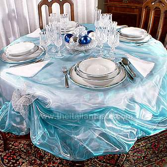 blue and silver table setting ideas for Holiday Season, detail of centerpiece and other decors