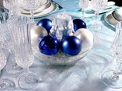 christmas centerpiece with items in blue colors