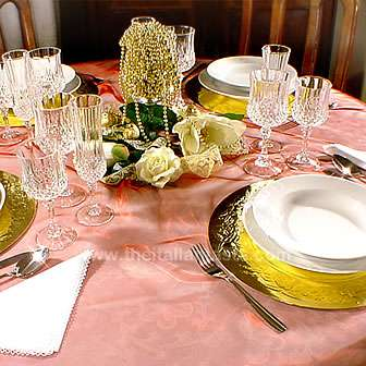Christmas centerpiece and other decors in gold, white and red colors
