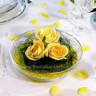 yellow centerpiece for spring table